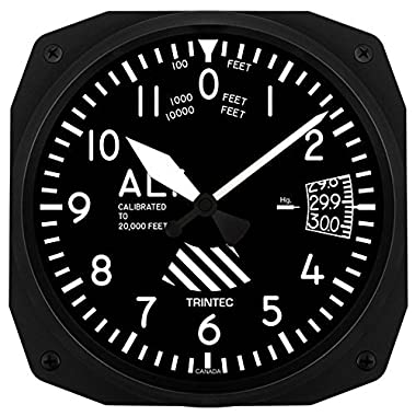 Trintec 10  Aviation Altimeter Instrument Style Wall Clock 3060-10