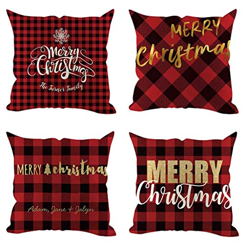 4 Piece Cushion Cover Christmas MinusK Decorative Cushion Cover Cotton Linen Throw Pillowcases Kavitoz Cartoon Linen Comfortable Sofa Cushion Cover Cushion Cover 45x45cm