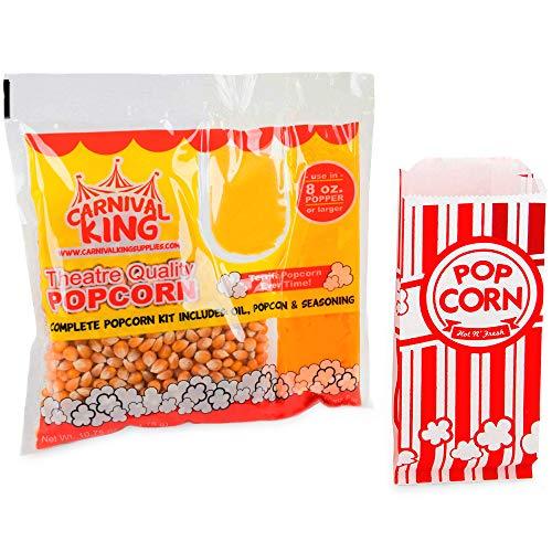 Carnival King Popcorn Kits [24pcs, 8 ounce] - Popcorn Machine Popcorn Packets Bundle w/ 200 Bags and 2 CUSINIUM Coasters, Ebook Bundle