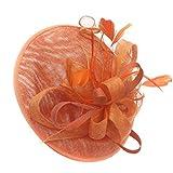 Caprilite Sombrero, tocado de plato, color naranja, mezcla de color, Sinamay, para mujeres, bodas, diadema