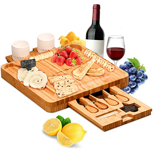 MaMahome Bamboo Cheese Board Set, Charcuterie Board Set Platter and Knife Set with Hidden Slid-Out Drawer Perfect for Birthday Party Housewarming Bridal Shower Wedding Couples Home Gifts