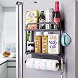 Estante magnético para especias para refrigerador, doble refrigerador Orgainzer, estante de almacenamiento de cocina con soporte de toalla de papel, negro