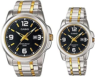 Casio His & Hers Black Dial Stainless Steel Band Couple Watch - MTP/LTP-1314SG-1A