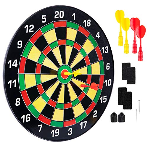 TAGADUS Magnetic Dart Board for Kids: Large 16 Inch Toy Dartboard with 3 Yellow and 3 Red Darts for Children, Teens, and Adults - Safe Indoor Game Set - Dart Boards for Boys and Girls - Age 6 to Adult