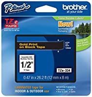 2/Pack Genuine Brother 1/2 (12mm) Gold on Black TZe P-touch Tape for Brother PT-1010 PT1010 Label Maker [並行輸入品]