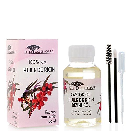Aceite de ricino - Aceite pureza 100{afbd1c1649923d3e26427e9bc4f46b07ec744237763cb47d5147d7de8282c8ec} prensado en frío - Estimula el crecimiento del cabello, las pestañas y las cejas, refuerza las uñas - con kit de aplicador de tratamiento - 100 ml