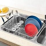 SANNO Geschirrtrockner mit Edelstahl-Besteckhalter, verstellbar über der Spüle Abtropffläche, Geschirrträger - 7