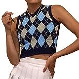 Women's Knit Sweater Vest Y2K Argyle Plaid E-Girls Preppy Style 90s Sleeveless Crop Knitwear Tank Top Streetwear (Dark Blue, S)