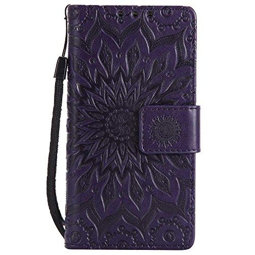LAFCH Handyhülle für Xperia Z5 Compact Hülle, Premium Mandala Geprägtes Muster PU Leder Flip Schutzhülle für Sony Xperia Z5 Compact, mit Karteneinschub, Violett
