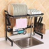 XGQ. 62 Centimetri in Acciaio Inox da Cucina Ciotola Piatto Coltello Tagliere Block Bacchette Drain Supporto della cremagliera di immagazzinaggio, la Versione di Lusso (Nero) (Color : Black)