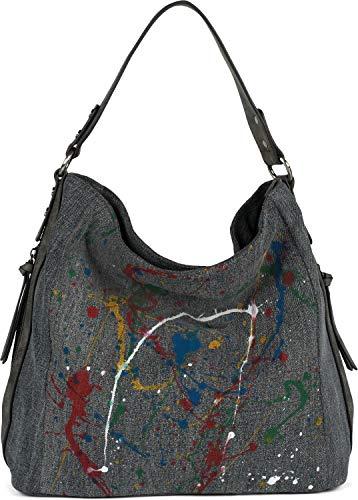 styleBREAKER Damen Hobo Bag Handtasche aus Jeansstoff mit buntem Farbspritzer Muster, Shopper, Schultertasche, Tasche 02012350, Farbe:Dunkelgrau
