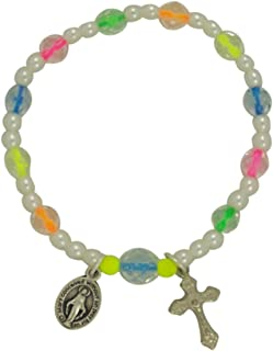 Miraculous Medal Rosary Bracelet with Neon Beads, 6 1/2 Inch