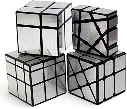 RENFEIYUAN 4 Paquetes de Paquete de 1x3x3 Fantasma + 2x2x2 3x3x3 Espejo + Rueda Espejo Irregular Ma S Conjunto Rubik Cubo (Color : Silver)