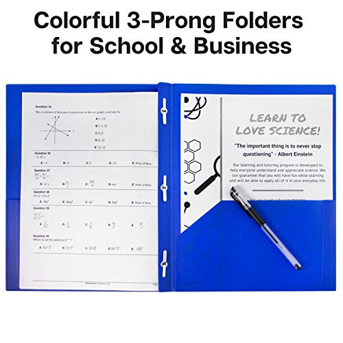 Dunwell Pocket Folders with Prongs - (12 Pack of Blue Folders) Heavy Duty Plastic Folders with Fasteners, 2-Pocket Folders for School, Letter Size Color Folders with Pockets, Includes Removable Label Photo #8