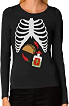 Halloween Skeleton Xray Taco & Tequila Easy Costume Women Long Sleeve T-Shirt