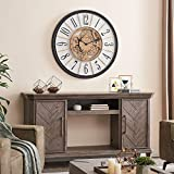 FirsTime & Co. Brass Montevello Farmhouse Gears Clock, American Crafted, Satin Black, 36 x 2 x 36 ,