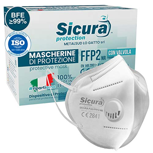 SICURA 10 Máscaras de Protección FFP2 con Válvula Certificado CE Made in Italy. BFE ≥99% Mascarilla sellada individualmente. Producción 100% italiana ISO 13485 Medical Device.
