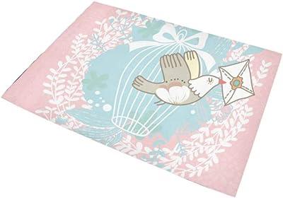 XHQZJ ラグマット 春の花 アニメーション鳥 カーペット 滑り止め じゅうたん おしゃれ ホットカーペット 長方形 防ダニ折り畳み可能 オールシーズン 柔らかい 100*150cm