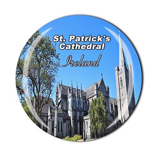Imán de cristal para nevera de la Catedral de San Patricio de Dublín Irlanda 3D Imán de cristal de vidrio para turistas, viajes, recuerdos, colección