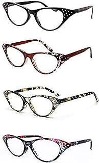 KoKoBin 4 stuks Cat Eye leesbril voor dames strass inlay met veerscharnier, Fashion Chic Readers bril