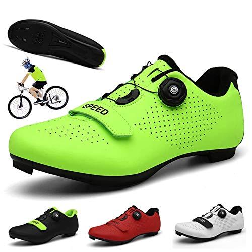 EDOSTORY in Bici Scarpe, Misto Pattino Bicicletta Bloccaggio Stradale Scarpe MTB Respirabili, Triathlon Scarpe Corsa per Sport All'aperto,Verde,EU45