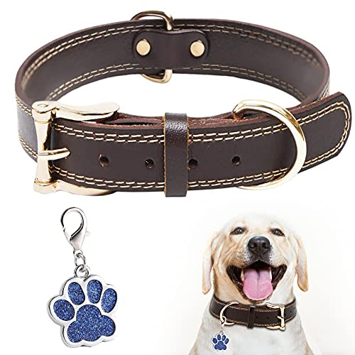 Leder Hundehalsband Verstellbar Legierung mit Hundepfotenanhänger Hardware Doppel-D-Ring Zwei Nähfäden,K-9 Hundehalsband 3 Größe Am besten für kleine mittelgroße Hunde Braun XS
