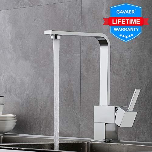 GAVAER Wasserhahn Küche, Einfache Geometrisches Linien Design Küchenarmatur, 360° Schwenkbarer Heißem und Kaltem Einstellbarer Mischbatterien für Küche, Messingbasis, Verchromt Prozess.