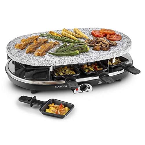 Klarstein Steaklette Full Taste - Griglia da Tavolo, Griglia Raclette, Bistecchiera, Barbecue Party, Piastra in Pietra, 1500 Watt, Mantenimento Calore