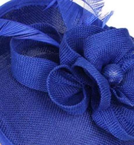 FHKGCD Diadema De Mujer para Sombreros De Plumas con Flores Banda para El Cabello De Novia Tocados Accesorios para El Cabello, Azul,