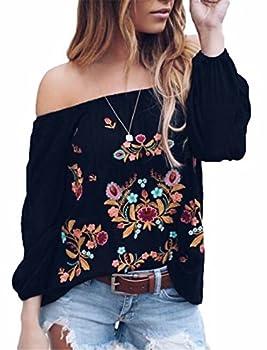 Women Vintage Off Shoulder Chiffon Top Shirts Summer Boho Floral Embroidery Off Shoulder Blouse T-Shirts Size XL  Black