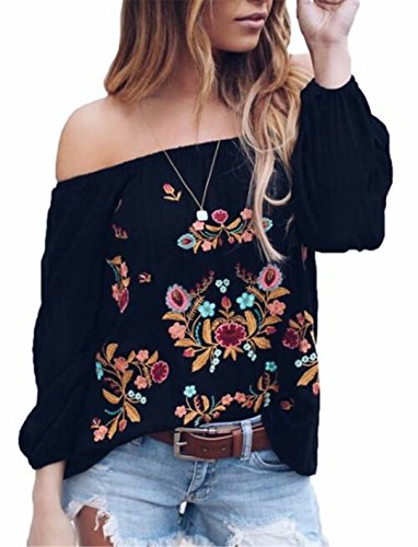 Women Vintage Off Shoulder Chiffon Top Summer Boho Floral Embroidery Long Sleeve Blouse T-Shirt Size L (Black)