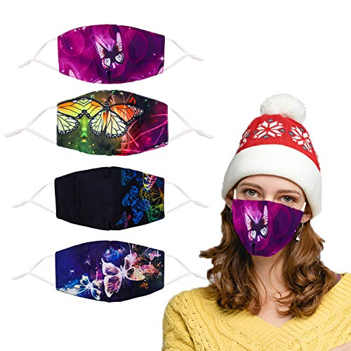 Face Cloth Mask Reusable Breathable Washable Designer For Women Adjustable Butterfly Cotton Men Fashionable Fabric Large Ear Loops Cool Lightweight 3 Layer Fashion Beauty Designs Adult Pretty Best