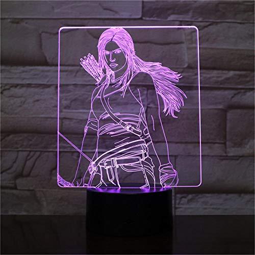 Lámpara nocturna 3D ilusión óptica 3D La ilusión de los juegos del hambre cambia de 16 colores con interruptor táctil para dormitorio, iluminación decorativa para niños y niñas (con control remoto)