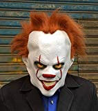 SHWSM Clown Mask with Orange Hair Full Head Halloween Costume Party Horror Creepy Scary Decoration Props