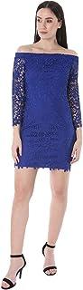 bebe Women's Off Shoulder Long Sleeve Lace Dress