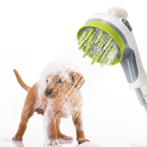 Brefac Pet Shower Sprayer Handheld Dog Shower Sprayer and Bathing Massage Brush Grooming Shower Head Dog Washer Shower Attachment with ON-Off Switch, for Indoor-Outdoor Use, White