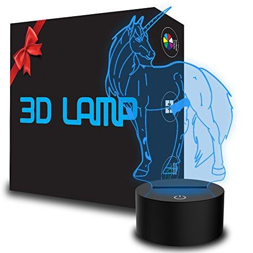 YKLWORLD Neuheit Einhorn 3D Illusion Lampe LED Nachtlicht mit 7 Farbwechsel & Touch-Schalter USB Kabel Schlafzimmer Schreibtischlampe für Kinder Weihnachts Geschenke Zuhause Dekoration