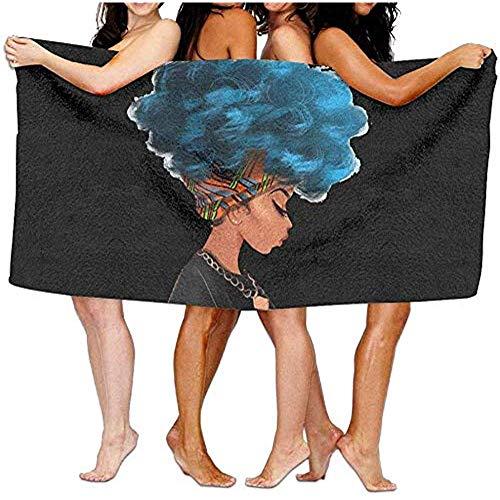 Edmun Toalla de Playa de Microfibra Mujeres afroamericanas Manta de Playa de Cabello Azul para Viajes Camping Playa Seca Seca Ligera Toalla de baño de Piscina 80x130cm