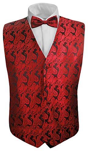 Kinder Anzug Weste mit Fliege 2tlg schwarz rot Paisley für Kinderanzug 146-152 (12 Jahre)