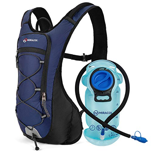 MIRACOL Hydration Backpack with 2L BPA-Free Bladder Lightweight Hydration Pack for Running Hiking Climbing Biking Cycling Skiing (Navy Blue)