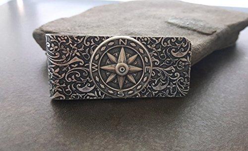 Handmade Oxidized Silver Embossed Brass Compass Money Clip