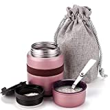 Hangrow Food Flask for Hot Drinks Soup Flask + Spoon Drawstring Bag, 500ML Vacuum Insulation Food Thermos Thermal Food Container, Stainless Steel Insulated, Sealed Portable Lunch Cup Kids