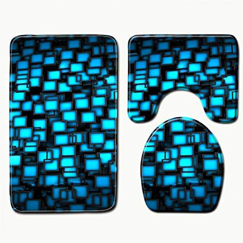 FORNCALO Tapijten Tapijten Matten 3D Geometrische Patroon Douchemat Wasbare Badmat Microvezel Tapijt Memory Foam Mat Toilet Tapijt Toilet Deksel Cover Tapijten