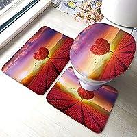 ハート型の花バスルームラグセット3ピース、バスマット、コンターラグ、トイレふたカバー、家の装飾用のユニバーサルソフトウォッシャブル便座カバーマットセット