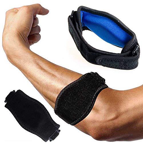 PUSTER Epicondylitis Spange, (2 Stück) Tennisarm Bandage, Leichter und Verstellbarer Schlaufenriemen am Ellbogenarm für Schmerzlinderung Beim Golfer und Tennisellenbogen und Unterstützung