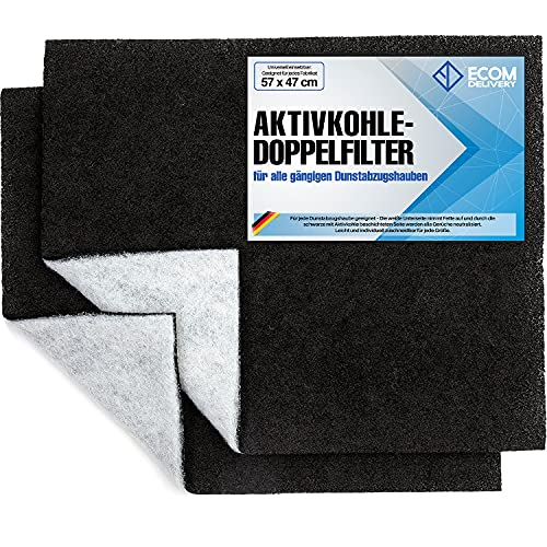 Ecom Delivery® Aktivkohlefilter für Dunstabzugshaube [2 Stück] | Universal Filter Abzugshaube Küche | Zuschneidbare Filtermatte für Dunstabzug | Fettfilter Aktiv Kohle