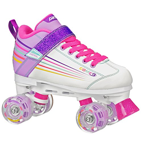 Pacer Comet Quad Kids Roller Skate, with Light Up Wheels, P973, White sz 3