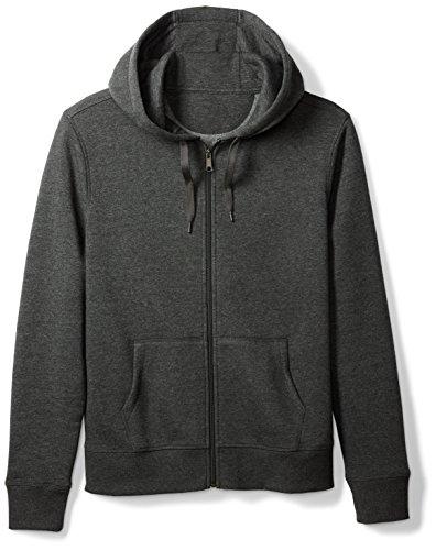 Amazon Essentials Men's Full-Zip Hooded Fleece Sweatshirt, Charcoal Heather, Large