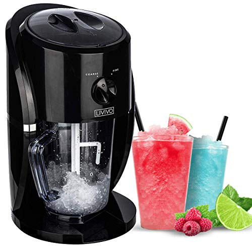 LIVIVO Electric Ice Crusher Blender Crushed Slush Cocktail Making Ice Crushing Machine - for Snow Cones Slushies Smoothies and Iced Coffees Frappuccinos – BPA Free Jug with Built- Stirrer & Scoop