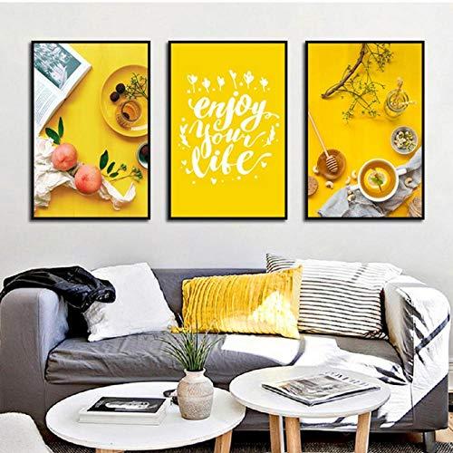 Terilizi Nordic Quotes Art Geniet van uw leven keuken kamer decor perzik eten thee canvas schilderijen wooncultuur wandschilderij druk poster 30 x 40 cm x 3 geen lijst